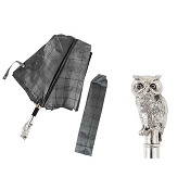 Pasotti Grey Plaid Men's Folding Umbrella - Silver Owl Handle