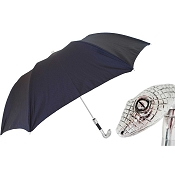 Pasotti Black Men's Folding Umbrella - Snake Head Handle