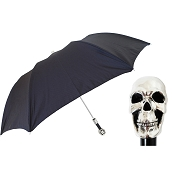 Pasotti Black Men's Folding Umbrella - Silver Skull Handle