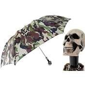 Pasotti Camouflage Men's Folding Umbrella - Bone Skull Handle