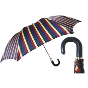 Pasotti Blue, Red, & Ivory Striped Men's Folding Umbrella - Black Leather Handle
