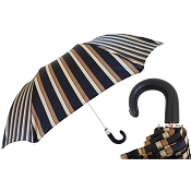 Pasotti Black, Gold, & Ivory Striped Men's Folding Umbrella - Black Leather Handle