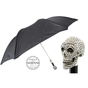 Pasotti Black Skull Print Men's Folding Umbrella - Swarovski® Skull Handle
