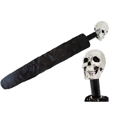 Pasotti Black Skull Print Men's Folding Umbrella - Silver Skull Handle