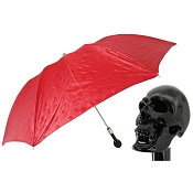 Pasotti Red Skull Print Men's Folding Umbrella - Black Skull Handle