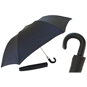 Pasotti Black Pin Dot Bespoke Men's Folding Umbrella - Black Leather Handle