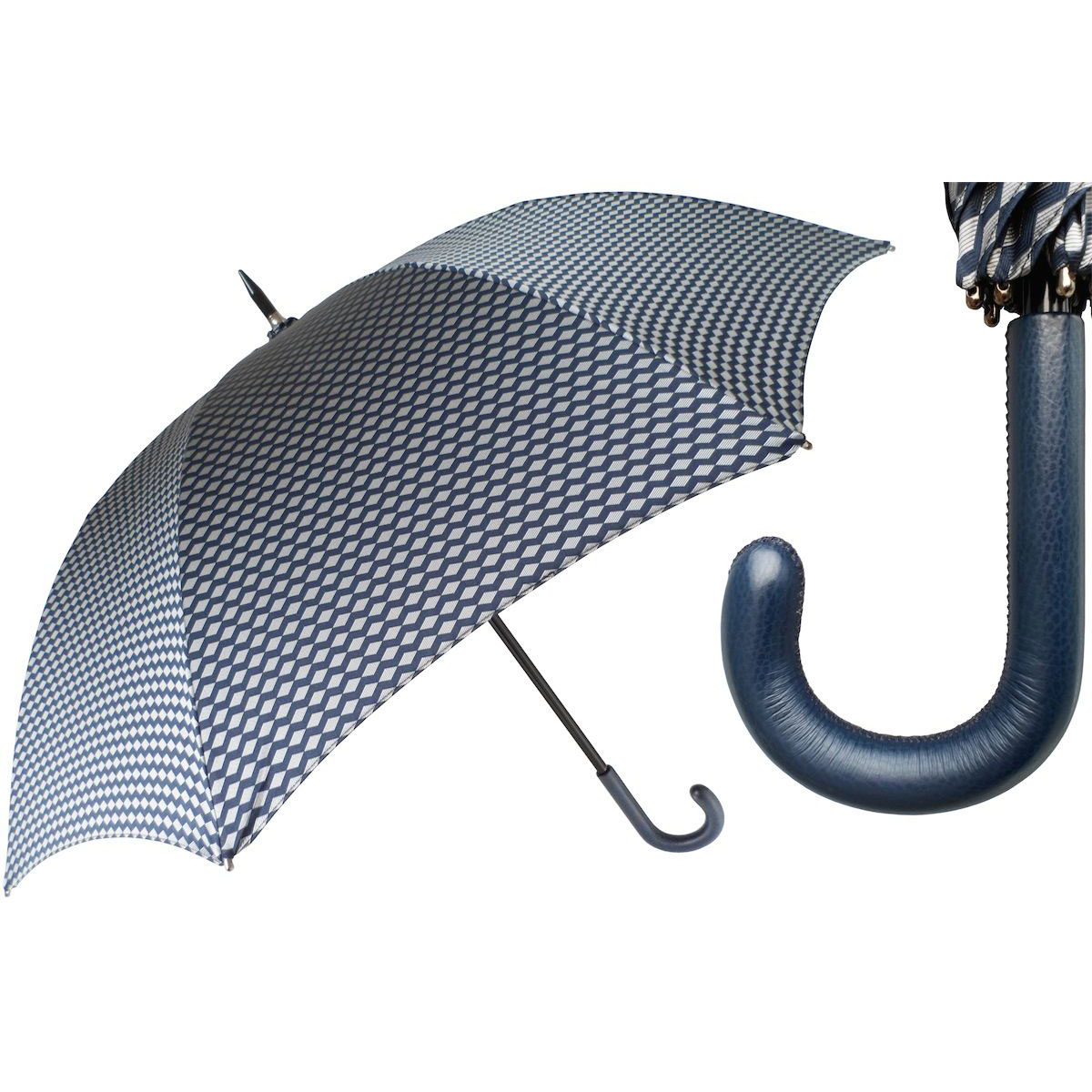 Pasotti Ombrelli Design Men's Umbrella - Blue Leather Handle