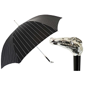 Pasotti Ombrelli Black Striped Men's Umbrella - Silver Alligator