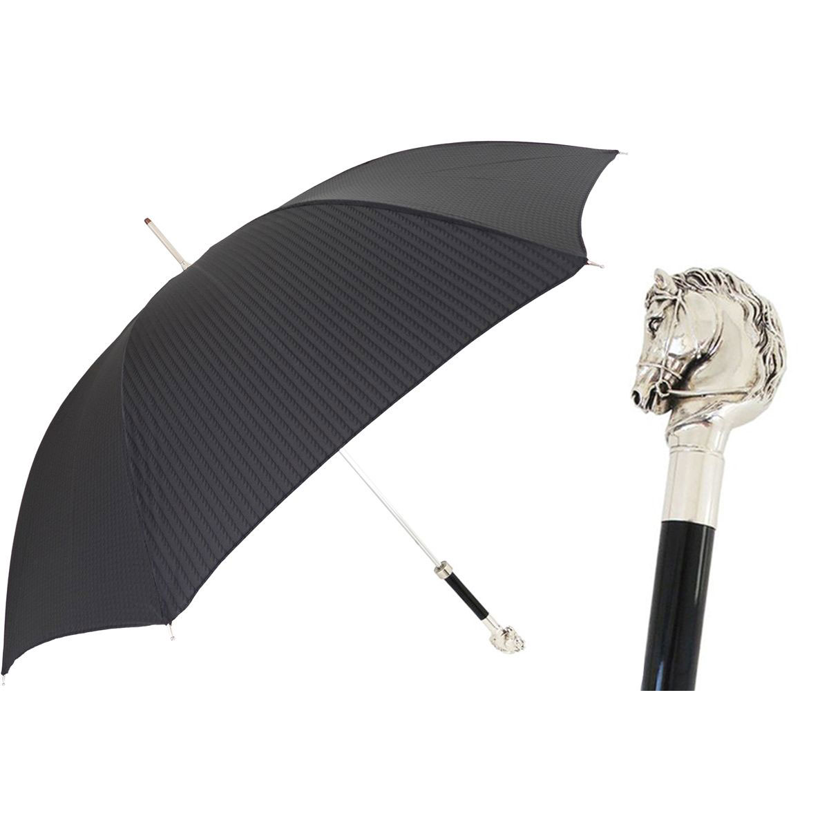 Pasotti Ombrelli Black Elegant Men's Umbrella - Silver Horse with Bridle
