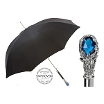 Pasotti Ombrelli Black Men's Umbrella - Luxury Blue Gem