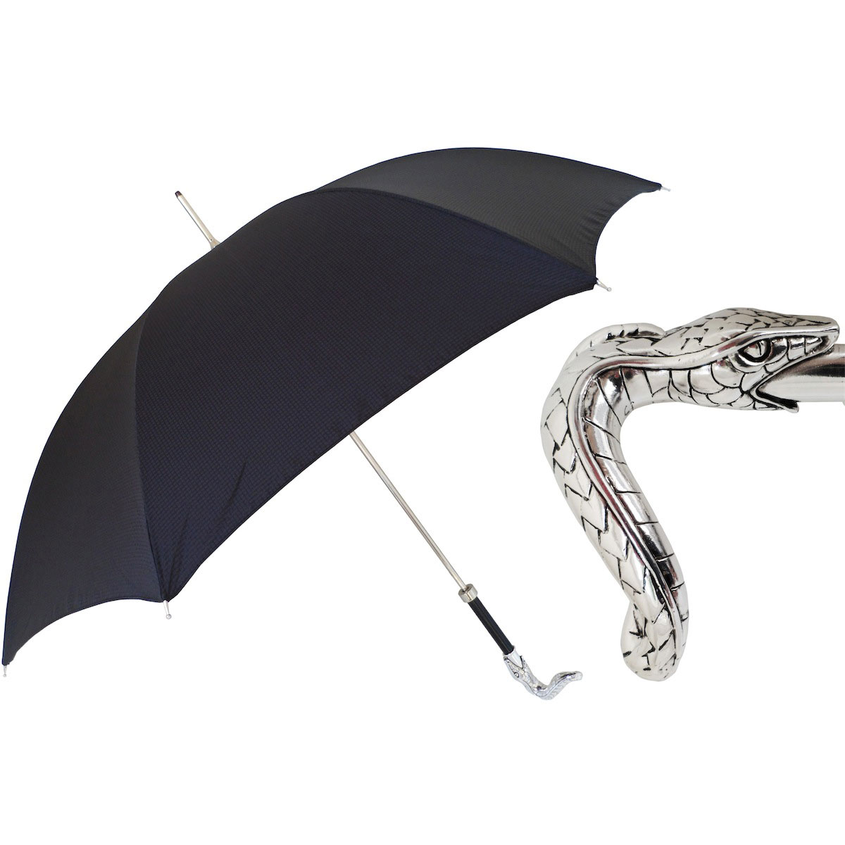 Pasotti Ombrelli Black Men's Umbrella - Brass Snake