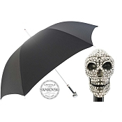 Pasotti Ombrelli Black Men's Umbrella - Luxury Swarovski® Skull