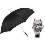 Pasotti Ombrelli Black Men's Umbrella - Brass Lucifer