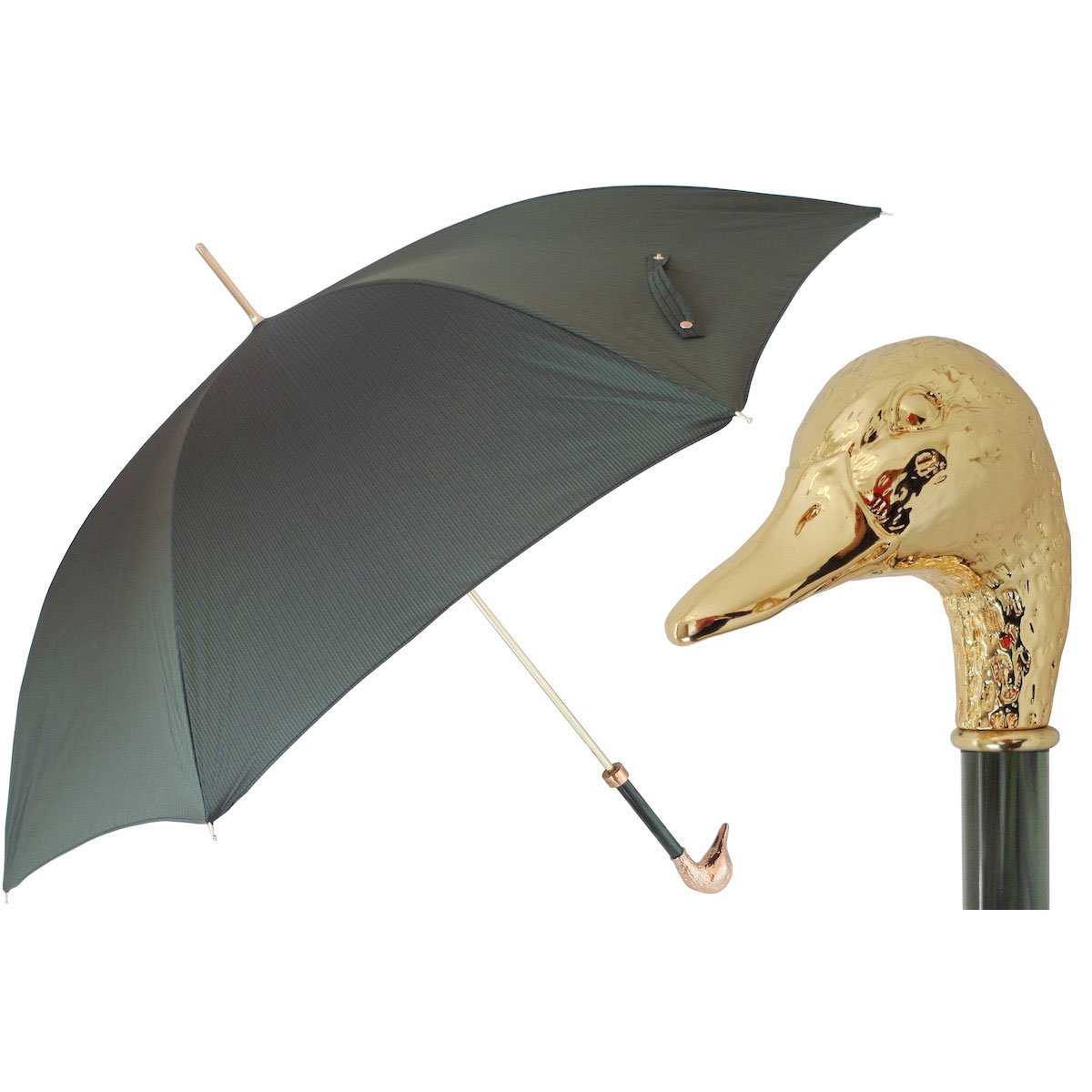 375e77e8f7cb6 Pasotti Ombrelli Green Men's Umbrella - Gold Mallard Handle