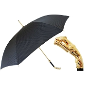 Pasotti Ombrelli Black Men's Umbrella - Gold Greyhound