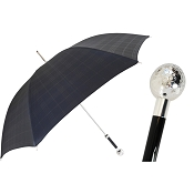 Pasotti Ombrelli Black Tartan Men's Umbrella - Silver Golf Ball