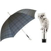Pasotti Ombrelli Grey Plaid Men's Umbrella - Silver Owl