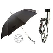 Pasotti Ombrelli Black Men's Umbrella - Silver Knuckleduster