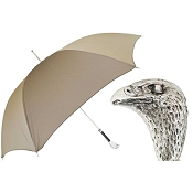 Pasotti Ombrelli Tan Men's Umbrella - Silver Eagle Head