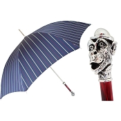 Pasotti Ombrelli Striped Blue Men's Umbrella - Silver Monkey