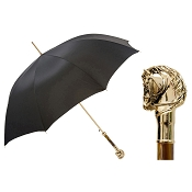 Pasotti Ombrelli Black Men's Umbrella - Golden Horse