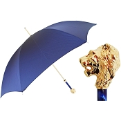 Pasotti Ombrelli Blue Men's Umbrella - Gold Lion