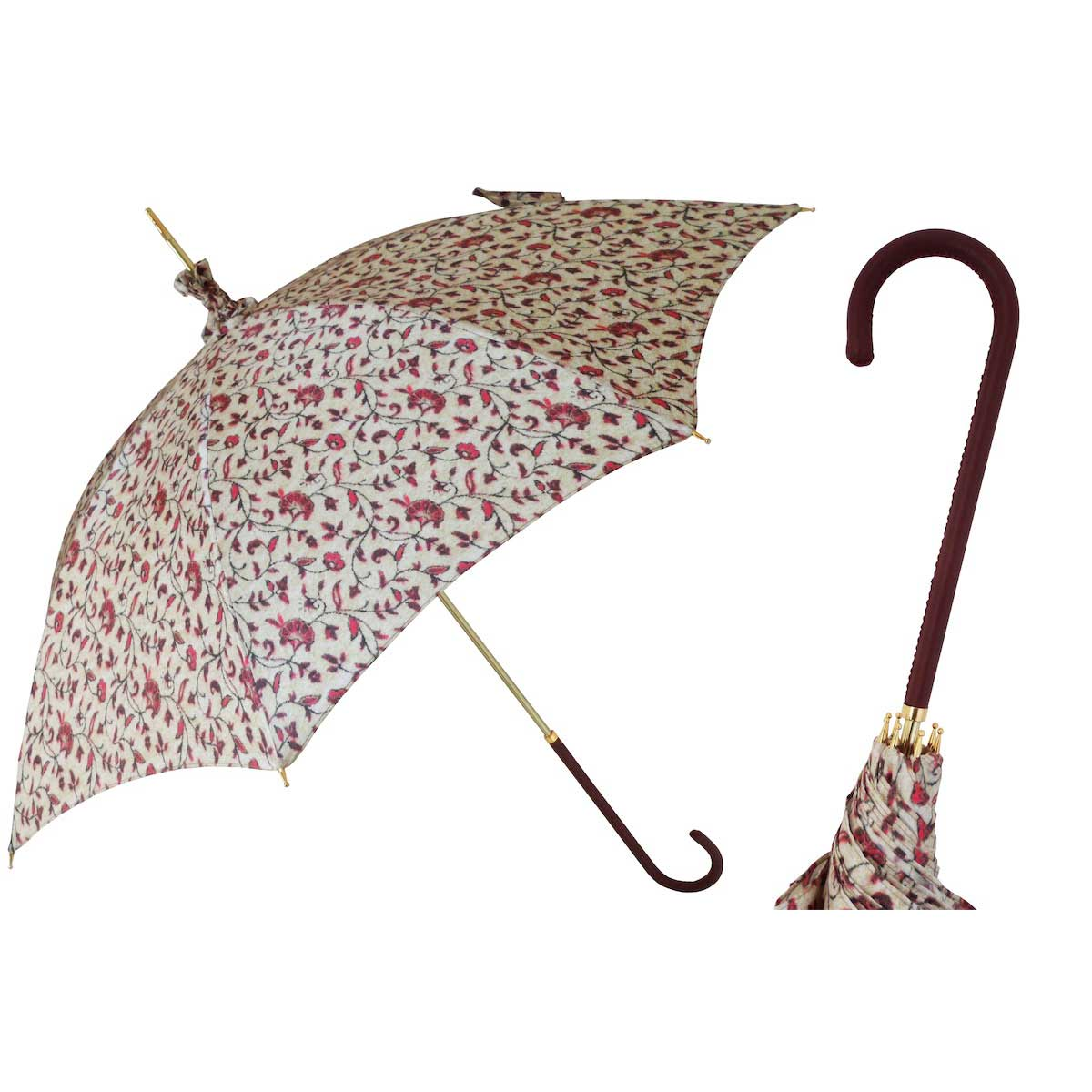 Pasotti Liberty Parasol - Brown Leather Handle