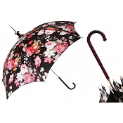 Pasotti Flowered Black Parasol - Brown Leather Handle