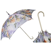Pasotti Flowered Lilac Parasol - White Leather Handle