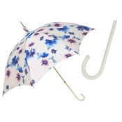 Pasotti Beautiful Parasol - Floral Design - White Leather Handle