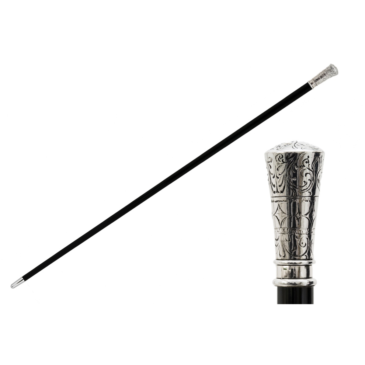Pasotti Walking Cane - Classic Straight Silver