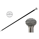 Pasotti Walking Cane - Black & White Swarovski® Crystals