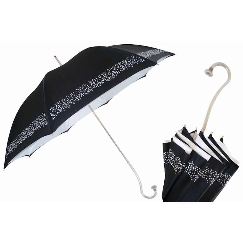 69b727008 Luxury women' s umbrella with band of clear crystals and luxurious metal  handle.