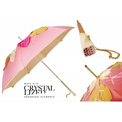 Pasotti Ombrelli Handcut Leaves On Pink Luxury Women's Umbrella