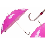 Pasotti Ombrelli White Swarovski Leaves Fuchsia Lux Women's Umbrella