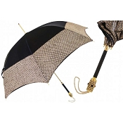 Pasotti Ombrelli Gold Lamé & Black Luxury Women's Umbrella