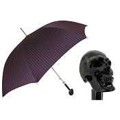 Pasotti Ombrelli Black Skull Pinstripe Burgundy Men's Umbrella