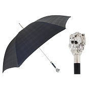 Pasotti Ombrelli Silver Lion Black Tartan Men's Umbrella