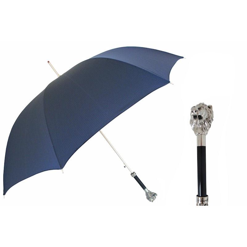 Pasotti Ombrelli Silver Lion Navy Blue Men S Umbrella