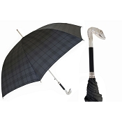 Pasotti Ombrelli Silver Serpent Head Tartan Black Men's Umbrella