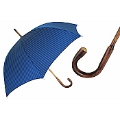 Pasotti Ombrelli Chestnut Shaft Pinstripe Blue Men's Umbrella