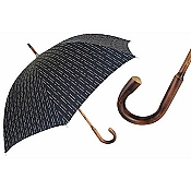 Pasotti Ombrelli Chestnut Shaft Black Rain Men's Umbrella