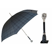 Pasotti Ombrelli Silver Lion Charcoal Plaid Men's Umbrella