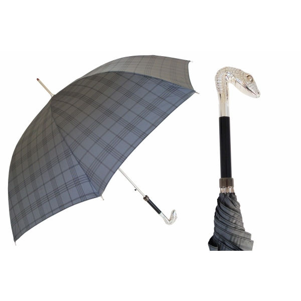 Pasotti Ombrelli Men's Grey Plaid Umbrella - Silver Serpent Head