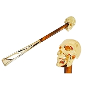 Pasotti Gold Skull Shoehorn - Pearly Brown Shaft