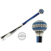 Pasotti Blue Bicolor Swarovski® Crystals Pavé Ball Shoehorn