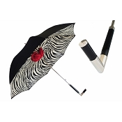 Pasotti Ombrelli Zebra Black & Red Roses Women's Umbrella