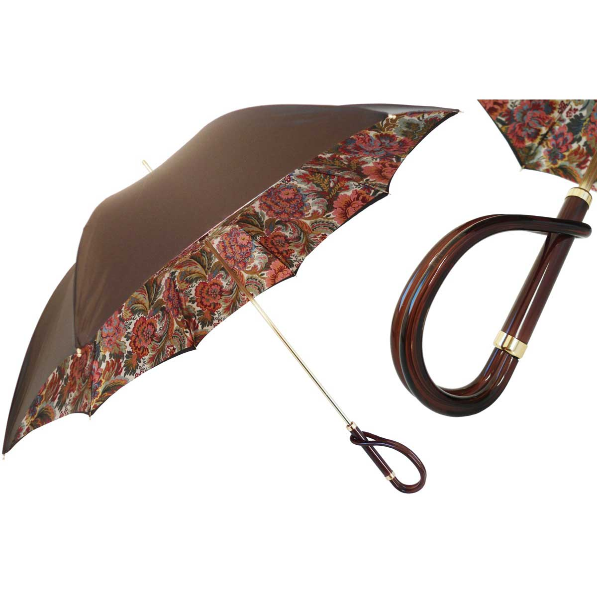 Pasotti Brown with Flowered Paisley Interior Women's Umbrella