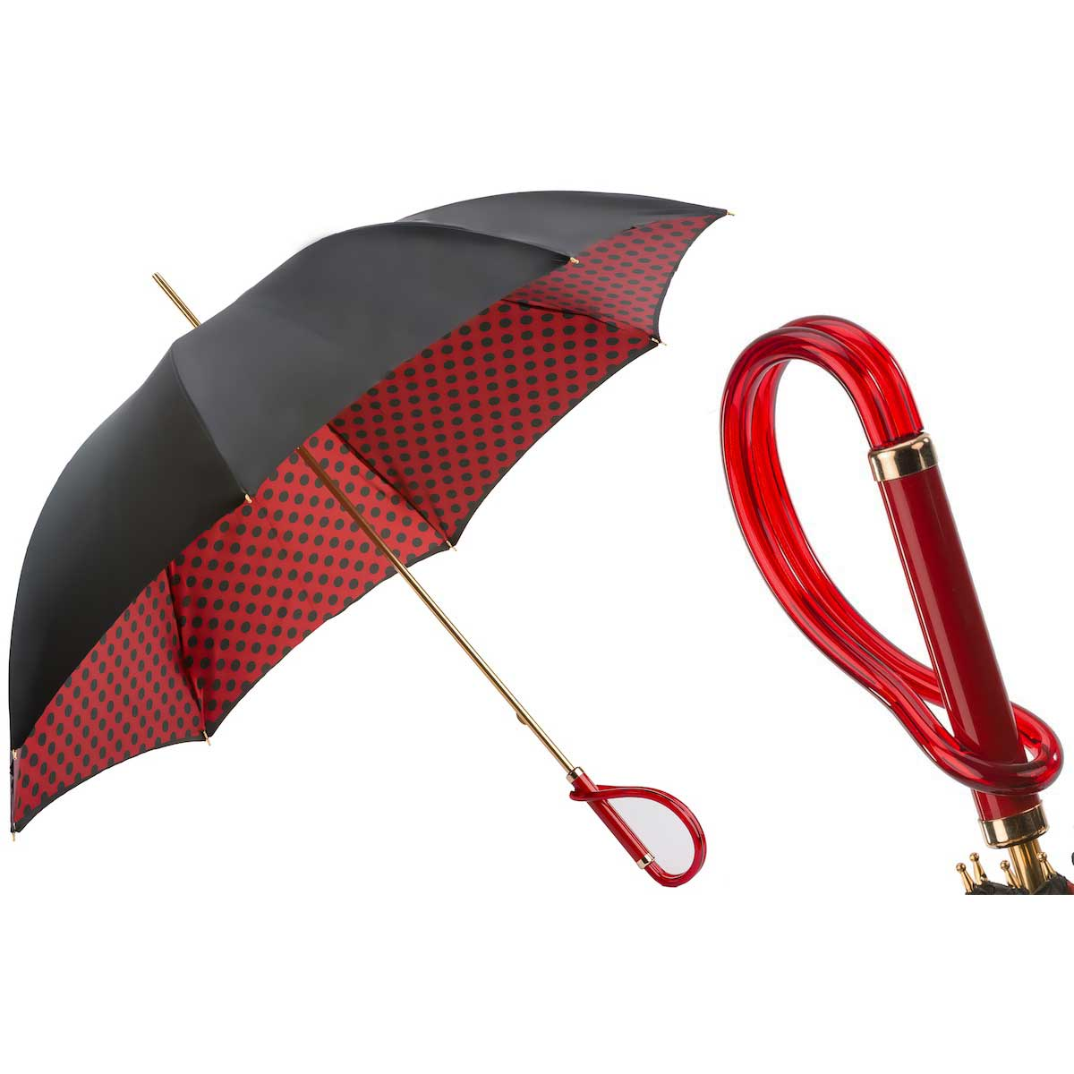 Pasotti Black and Red with Dots Classic Women's Umbrella