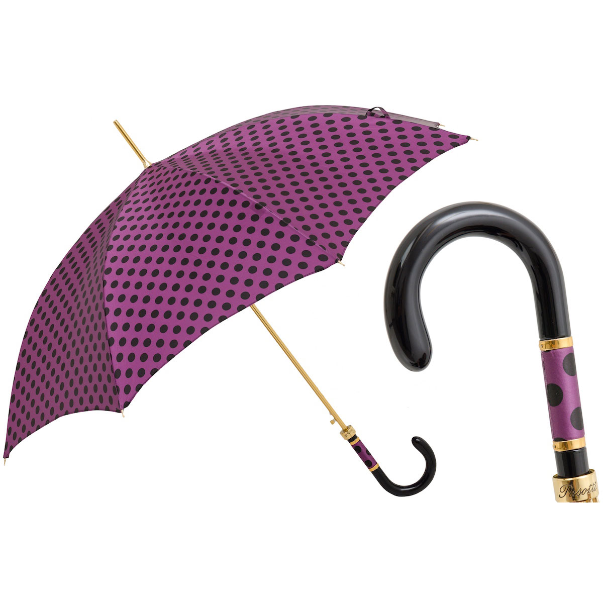 Pasotti Purple with Black Polka Dots Women's Classic Umbrella